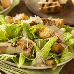 Romaine lettuce, croutons, and romano cheese