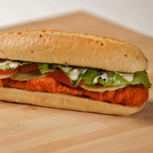 Breaded chicken breast, Lettuce, Tomato, Green Onions