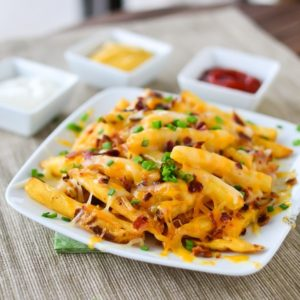 Cheddar Cheese Fries with Bacon & Scallions