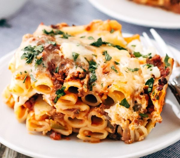 Baked Penne with Meat Sauce & Cheese