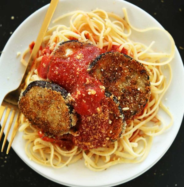 Eggplant Parmesan with Spaghetti